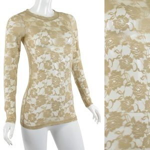 Lace khaki tan top blouse S M L new